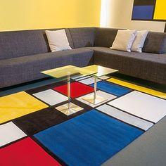Tapis Digital Line ~ Coloured Cubes Multi Spirit - Arte Espina Piet Mondrian, Art Studio Design, Salon Design, Tapis Design, Interior Color Schemes, Cubes, Buy Rugs, Rugs Online, Rugs In Living Room