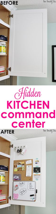Clear fridge clutter with this hidden kitchen command center!  Non-permanent so it's prefect for homeowners OR renters!