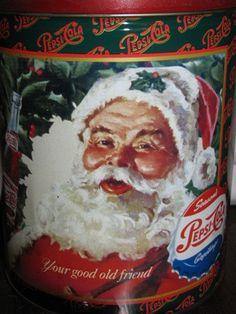 Pepsi Cola Christmas Pop Corn Tin, Santa Claus, Kris Kringle, Storage Container, Candy Tin, Cookie Tin on Etsy, $20.00 Coca Cola Santa, Pepsi Cola, Vintage Tins, Vintage Stuff, White Settlement, Cola Wars, Peach Ice Tea, Diet Pepsi, Cookie Tin