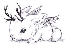 The cute Cousin to the Jackalope! Wolpertinger Baby by RamzaWolf on deviantART