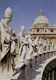 Bernini Statues atop the colonnade at St. Peter's Basilica, Vatican
