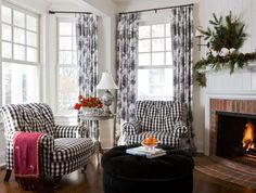 Black-and-white armchairs cozy up to the fireplace in this lovely den. - Traditional Home ® / Photo: Gordon Beall / Design: Barbara Svihla and Olivia Paxton Home Depot, Home Living Room, Living Spaces, White Armchair, French Country Living Room, White Cottage, Cottage Style, White Rooms, White Furniture