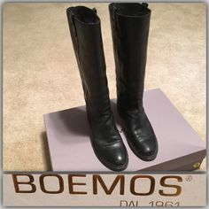 ❤️Black Leather Knee High Boots Black Leather knee high boots by Boemos w/box. These boots are amazing!!!  Buttery leather and super comfortable souls. I'm sad to give them up, but they're just too big on me. I've been wearing my husbands socks to make it work, but that's a bit much.  So, it's time for a lucky posher to enjoy! . Box labeled size 9, but actual boot is labeled size 40 & they definitely fit like a 40. Let me know if you have any questions. Boemos 1961 Shoes