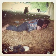 Hog Luvdog pulled up a a comfy bale of hay or two after a night of rock n roll at MRMF Hay Bales, Concerts, Rock N Roll, Festivals, Hiking Boots, Roots, Destinations, Comfy, Night