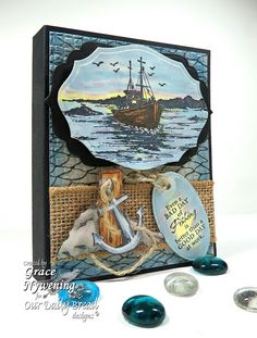 ODBD stamps, The Waves on the Sean, Fishing Net Background, Fishing, Anchor, designed by Grace Nywenng
