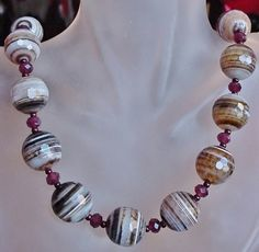 Brown Multi Stripes Agate Necklace  Sterling Silver by camexinc, $70.00