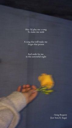Song Request -Lee Sora ft. Suga K Quotes, Bts Lyrics Quotes, Good Music Quotes, Pop Lyrics, Song Request, Korean Quotes, Song Lyrics Wallpaper, Learn Korean, Sleepless Nights