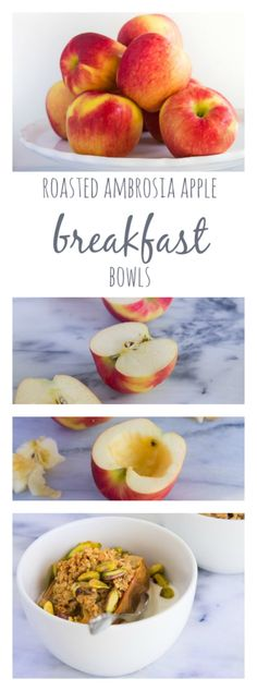  - These Roasted Ambrosia Apple Breakfast Bowls by Kylie Held Mitchell on HealthyAperture are a warm, hearty healthy breakfast that just might become your new winter favorite! Apple Breakfast, Breakfast Bake, Sweet Breakfast, Breakfast Bowls, Breakfast Recipes, Breakfast Buffet, Breakfast Ideas, Gourmet Recipes, Cooking Recipes