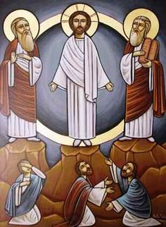 #Coptic #Icon of the #Transfiguration of #Christ. #Moses #Elijah #Apostles