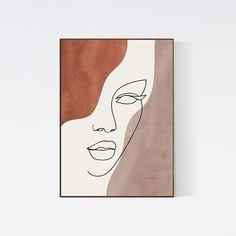 Abstract Face Line Art Print, Woman Face Line Drawing, Line Portrait Earth Tones Minimal Art, Bohemian Neutral Colors Wall Art, Boho Decor Face Line Drawing, Female Face Drawing, Cuadros Diy, Boho Dekor, Face Lines, Abstract Faces, Diy Canvas Art, Painting Inspiration, Art Inspo