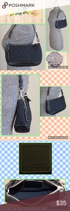 """Coach 'Signature Demi Baguette' Black Purse This compact size is for a stylish Signature look in a smaller-sized bag. * Inside open pocket * Zip-top closure * Signature jacquard fabric with leather trim * Trigger snap adjusts to form wrist strap so you can carry as a clutch * 12"""" handle with clip * Fabric lining Coach Serial #: G045-6094 Approximate Measurements: 5"""" (L) x 8"""" (H) x 2"""" (D) EUC as pictured. Tiny scuffs and scratches consistent with normal usage on bottom. Jacquard looks…"""