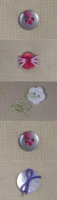 Способы хитрого пришивания пуговиц для декорирования.