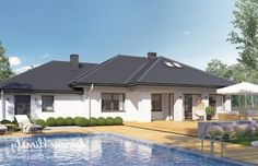 Project of a one-storey house with a garage. Modern Bungalow House Plans, Modern Family House, Bungalow Floor Plans, One Storey House, House Plans Mansion, House Design Pictures, Design Case, Big Houses, Future House