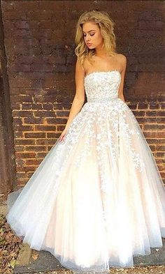 Gorgeous Lace Prom Dress,Strapless Prom Dresses, Lace Wedding Dress, Long Prom Dress, Wedding Dress 2018,Ball Gown Wedding Dresses,Applique Prom Gowns