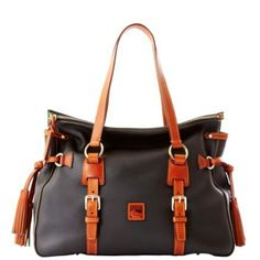 Dooney & Bourke Dillen II with Tan Trim Double Strap Tassel Satchel. Loving this bag!!!!!!