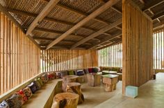 Louvered LAM Café is a Gorgeous Naturally Daylit Coffee House in Vietnam Bamboo Architecture, Studios Architecture, Organic Architecture, Contemporary Architecture, Architecture Details, Cafe Design, Wood Design, Brewery Design, Bali