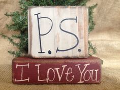 Primitive Country P.S. I Love You Valentine Holiday Shelf Sitter Wood Block Set #CountryPrimitive #DoughandSplinters