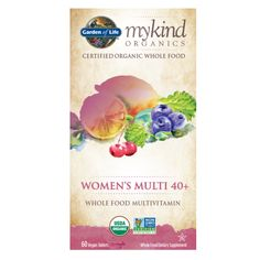 A Certified USDA Organic, Non-GMO Project Verified women's multivitamin formula for women 40+ made from certified organic whole foods, to support women's health, rejuvenation and focus.