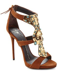 Giuseppe Zanotti Turquoise-Embellished Leather Pump