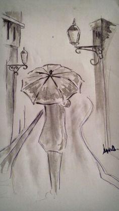 man in rain..