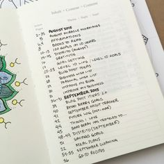 Bullet Journal: Index - use bold headers to separate months.