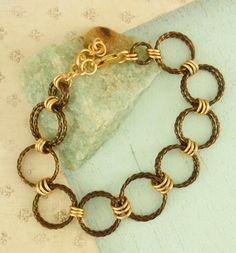 Vintage Bronze and Gold Bracelet $52
