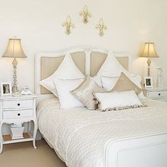 Little French Country~~~love the night stands, adds storage as well. Shape of lamp shades