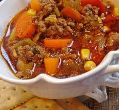"""Hearty Hamburger Soup: """"Wonderful and very easy to prepare! I doubled the heartiness by using beef broth in place of the water."""" -Bev"""