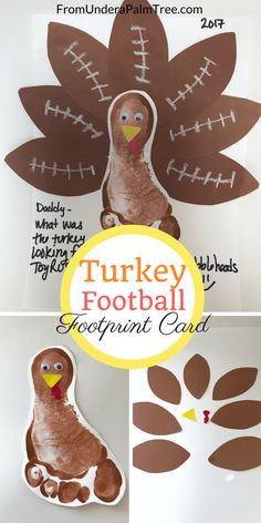 Make this adorable Turkey Football Footprint Card this Thanksgiving for someone special. Give them to parents, relatives, and friends.  .  .  .  .  Thanksgiving cards   DIY   DIY Thanksgiving cards   Footprint cards   handprint cards   Thanksgiving footprint card   Thanksgiving handprint card   crafts   kids Thanksgiving crafts   holiday footprint cards   holiday handprint cards   footprint card tutorial   how to make footprint cards   holidays   holiday