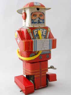 Rare Vintage Space F.D. Robot Fireman Robot Windup Tin Toy 1955 SY Japan + Card | eBay
