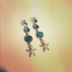 Blue Starfish earrings Adorable earrings sterling silver Jewelry Earrings