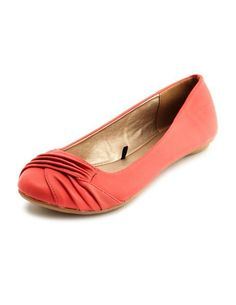 Draped-Front Pleather Flat: Charlotte Russe    neeeeed coral flats!