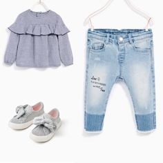 Zara baby girl outfit idea. Gingham frilled shirt, jeans with text and trainers. Zara spring 2017 collection.