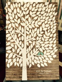 Rustic Wood Wedding Tree Canvas | Guest Book Alternative | Rustic Wedding | Customer Photo | Wedding Color - Mint | peachwik.com