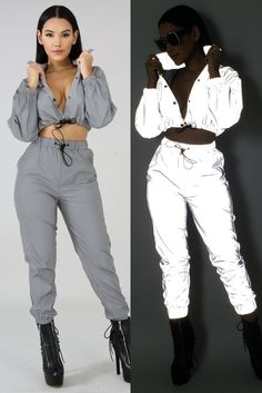 fda2a7dcbb32 New Fashion Women Sexy Reflective Tracksuit Night Version Long Sleeve Crop  Top + Cargo Pants Clubwear
