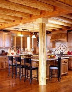 Log Home Kitchen For My Future Cabin Home