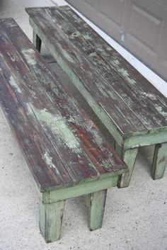 Farmhouse Table and Benches - this post explains how this awesome rustic paint finish was achieved simply by sanding areas of the old finish, then staining - Weathered Pieces