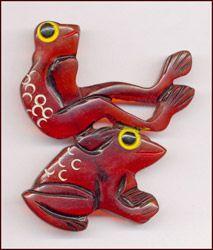 Root beer bakelite leap frogs pin