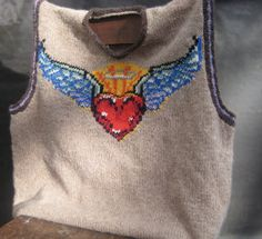 Tattoo Men's Hand Knit Wool Sweater Vest  Heart by sheepishlychic, $175.00