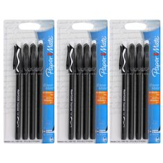 Paper Mate Eraser Mate Black Medium Point Ballpoint Pens (Pack of 12) by…