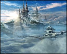 """Search Results for """"oboro palace in the clouds wallpaper"""" – Adorable Wallpapers Fantasy City, Fantasy Castle, Fantasy Places, Castle In The Sky, City Art, Pokemon, Japanese Castle, Cloud Art, Fantasy Dragon"""