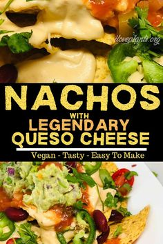 A vegan snack or vegan dinner game changer! LOADED with delicious yet healthy toppings, these nachos are great for every social occasion. Your loved ones won't be able to stop eating this plant-based taste sensation! Vegan Recipes Plant Based, Best Vegan Recipes, Dairy Free Recipes, Whole Food Recipes, Healthy Recipes, Diet Recipes, Healthy Meals, Healthy Food, Plant Based Whole Foods