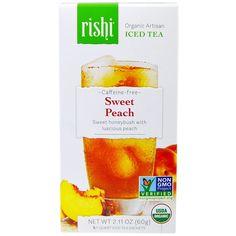 Rishi Tea, Organic Artisan Iced Tea, Caffeine-Free, Sweet Peach, 5 1-Quart Iced Tea Sachets, 2.11 oz (60 g) - 2PC *** More info could be found at the image url. (This is an affiliate link) #IcedTea Rishi Tea, Organic Herbal Tea, Sweet Peach, Glass Containers, Iced Tea, Caffeine, Herbalism, Artisan, Sachets