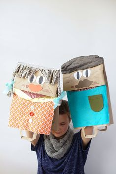 Giant Paper Bag Puppets - so fun