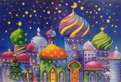Weihnachtskarte-orientalische-Stadt-Sterne-Doppelkarte-Grusskarte-Nina-Chen