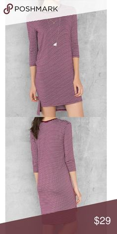 Super Cute Striped Dress Striped Knit Dress. Burgandy and white. 3/4 sleeve. Hi-lo Hem. Rayon/Poly/Spandex. Dresses