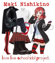"""Maki Nishikino from Love Live School Idol Project"" by kayxiv1256 ❤ liked on Polyvore featuring Maesta, Weekend Max Mara, Forever 21, Dr. Martens, Bose and Calibrate"