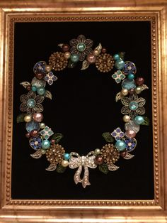 Wreath in Aqua and brown. Made by B Turchi 2014