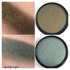 #sundayswatch continues... @citycolorcosmetics Single Eye Shadows in (my fave) Aztec Warrior on top with flecks of gold and Pool Side on bottom with hints of silver. One swipe, no primer. Link in bio and use affiliate code Jodi106 for 10% savings. #citycolorcosmetics #eyeshadow #shadows #beauty #discount #makeup #cosmetics