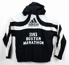 Adidas Mens Large Boston Marathon 1993 Vtg Running Jacket Black and White Rare Retro Sportswear, Boston Marathon, Running Jacket, Mode Vintage, Fasion, Adidas Men, Adidas Jacket, Online Price, Black And White